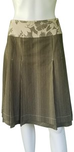 Phoebe Couture Cotton Pleated Striped Skirt Olive Green, Cream