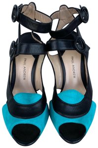 Paul Andrew Black and Turquoise Sandals