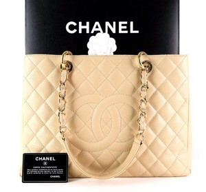 Chanel Chain Caviar Leather Quilted Cc Tote in Beige