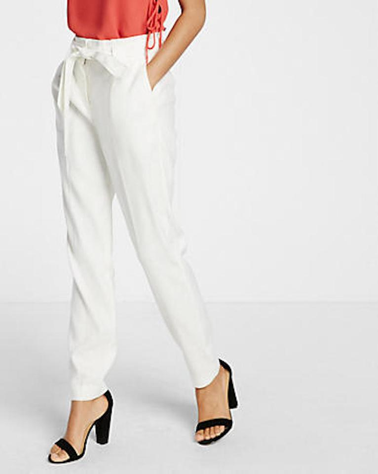 factory outlets reputable site large assortment Express Ivory New White Linen Blend Sash Waist Ankle Pants Size 12 (L, 32,  33)
