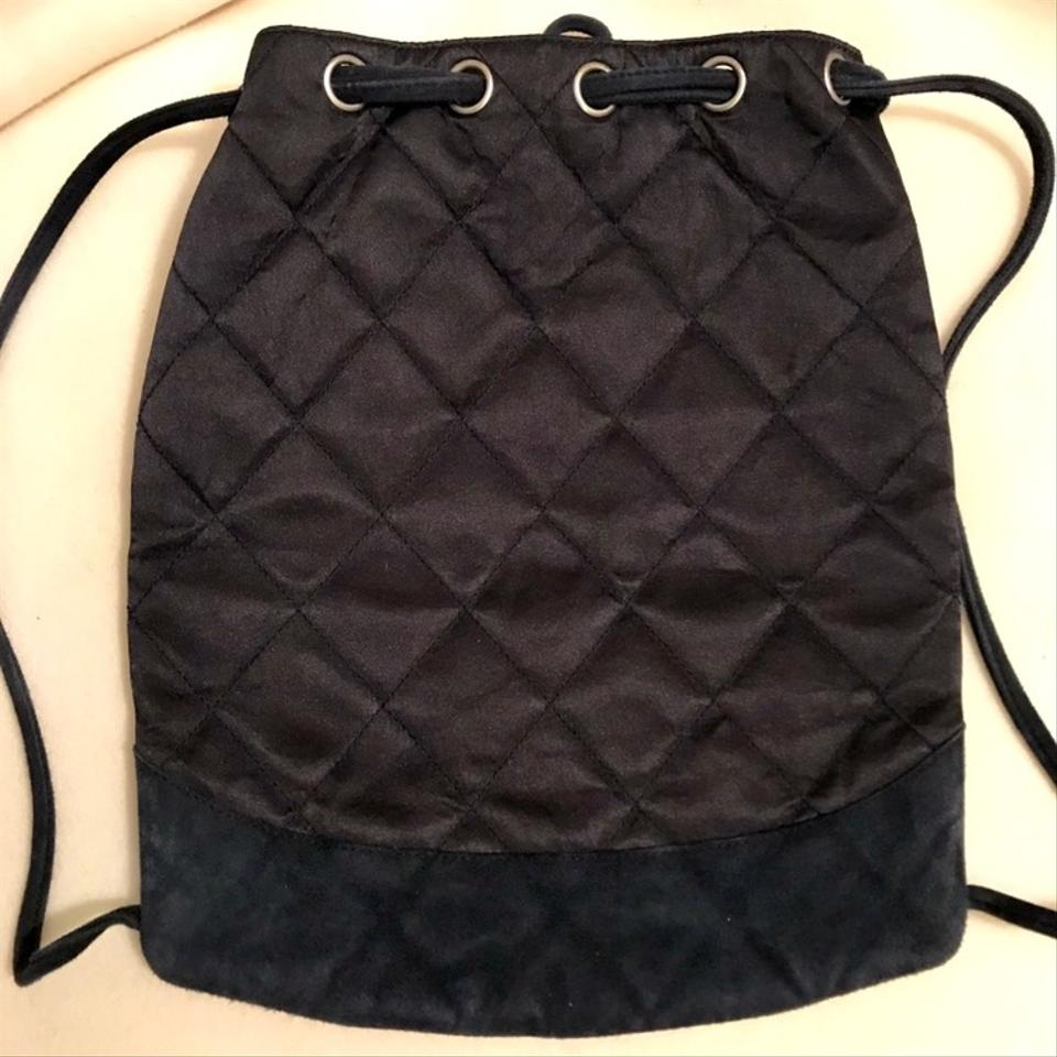 a81eb53d3e321e Chanel Drawstring Vintage with Quilted Blue Satin and Suede Backpack -  Tradesy