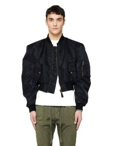 Balenciaga Black L Men's Nylon Cropped Bomber Jacket 460599 Groomsman Gift