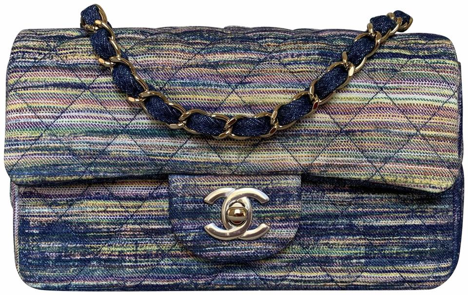 e3002cd74298 Chanel Classic Quilted Mini Flap Shiny Pale-gold Tone Chain Denim ...