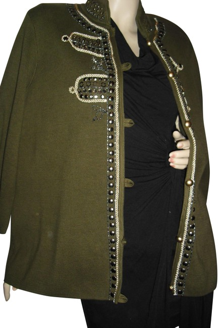 Item - Olive Green Gold Rope Antique Studs Beads Jewe Jacket Size 4 (S)
