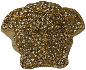 a8bfddf7 Versace VERSACE Medusa Logo Head Pave Crystal Gold Tone Statement Ring
