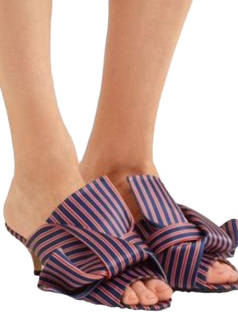 Item - Multicolor New Satin with Bow Mules/Slides Size US 6 Regular (M, B)