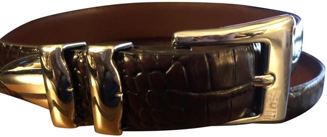 Item - Dark Brown Men's Embossed Full Grain Lether Croc Belt