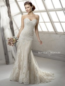 Sottero and Midgley Ivory Lace Over Light Gold Viera Vintage Wedding Dress Size 10 (M)