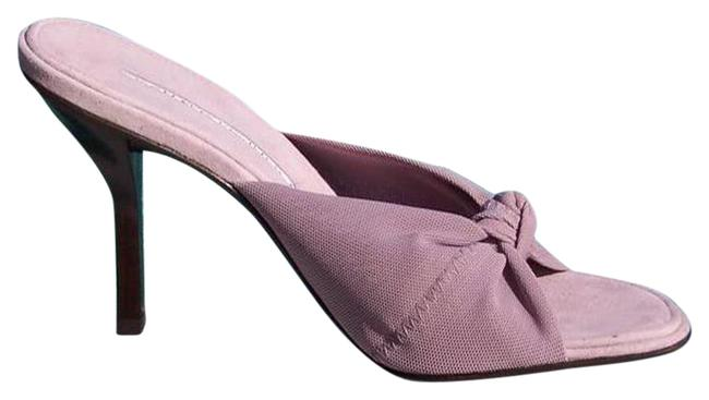 Item - Mauve Couture Mesh Elastic Suede Footbed Leather Sandals Size US 6.5 Regular (M, B)