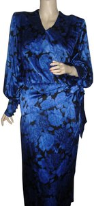 Albert Nipon Lapis Lazuli Vintage Designer Unique Silk 2pc One-of-a-kind Silk Hongkong Silk Dress