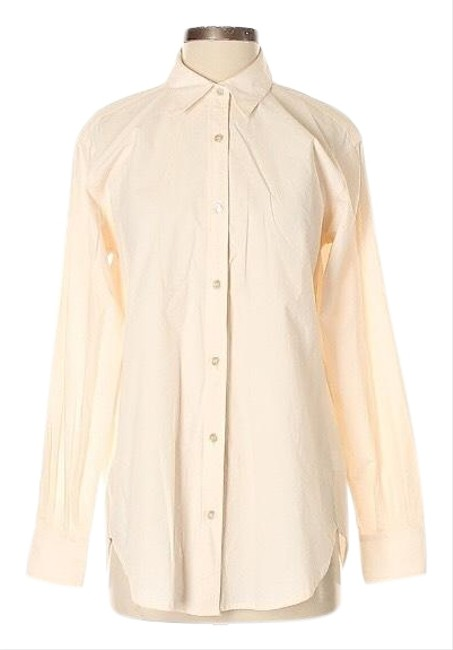 Item - Beige Career Long Sleeve Cotton Button-down Top Size 0 (XS)