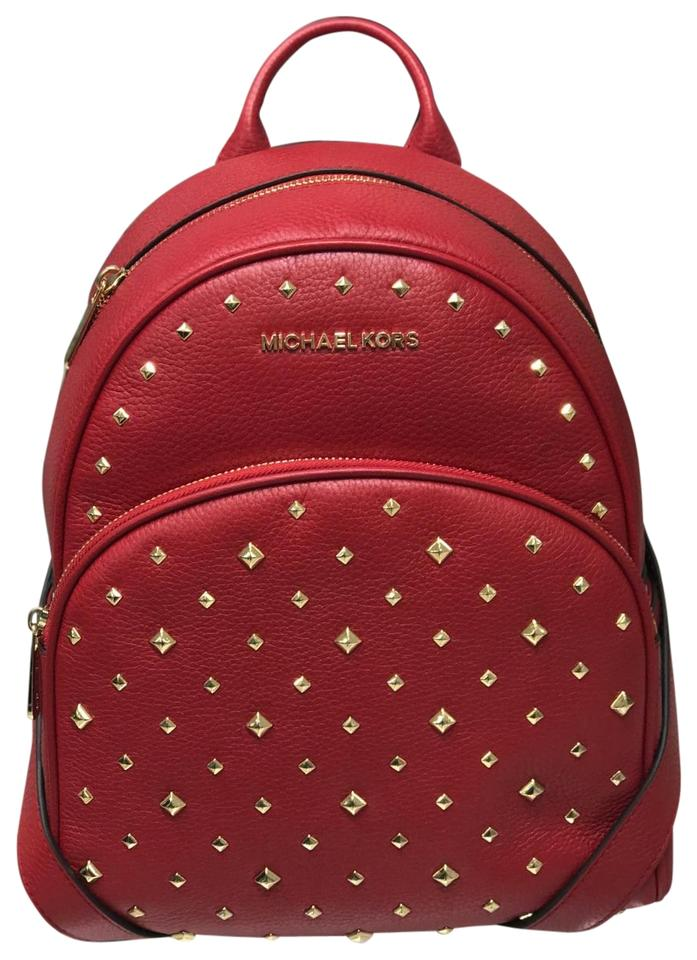 6e881c052f5c Michael Kors Abbey Medium Studded Scarlet Leather Backpack - Tradesy