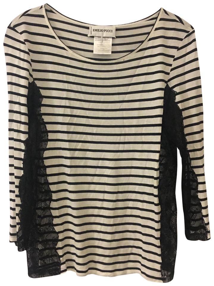 27dbf089 Emilio Pucci Navy and White Stripes & Lace Tee Shirt Size 10 (M ...