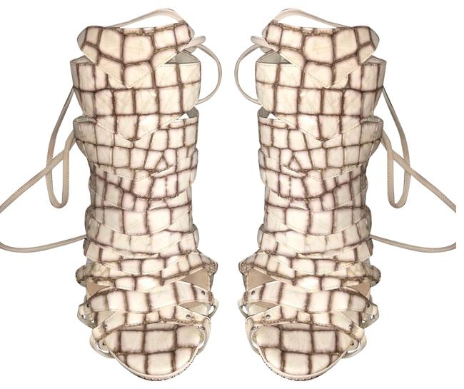 Item - Beige and Silver Gray Snake Pattern Sandals Size EU 37.5 (Approx. US 7.5) Regular (M, B)
