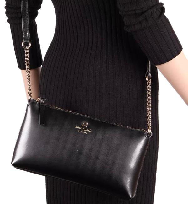 Item - Chain/Leather Strap Black/Gold Leather Cross Body Bag