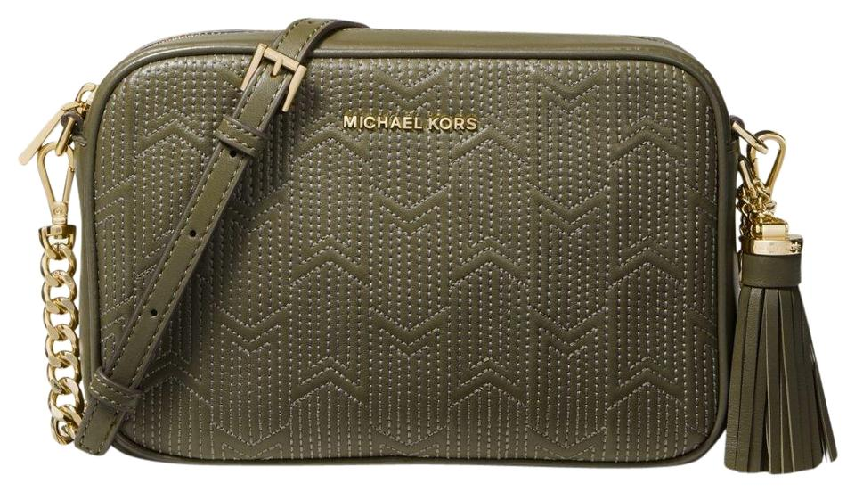 12a83440dc0d Michael Kors Ginny Medium Deco Quilted Olive Leather Cross Body Bag ...