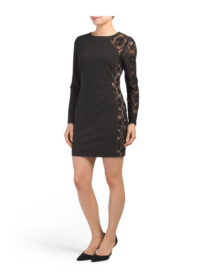 Bebe Black Long Sleeve Lace Insert Bodycon Short Night Out