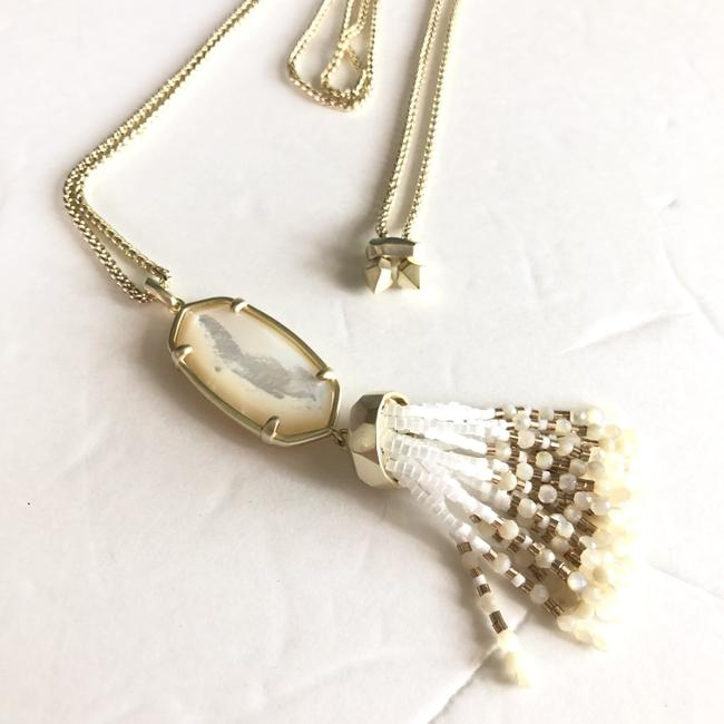 NEW Kendra Scott GOLD New Eva Adjustable Long Ivory Mother of Pearl Necklace
