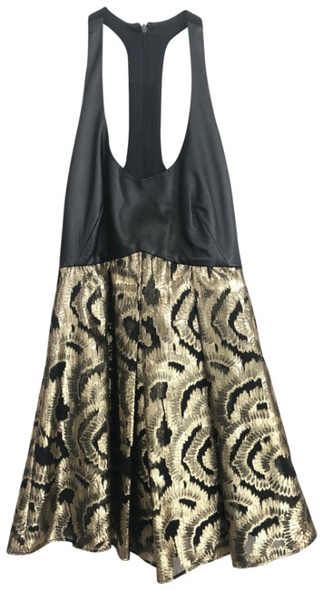 Item - Black/Gold Halter Short Casual Dress Size 2 (XS)