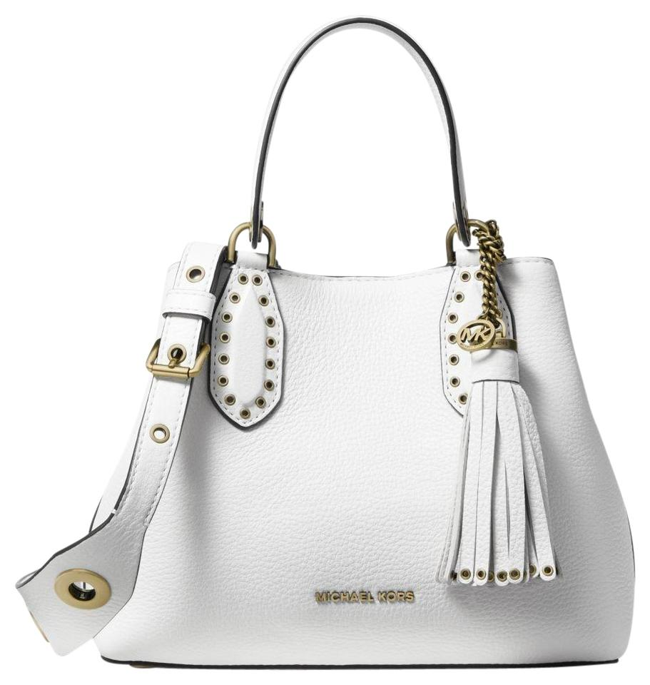 c2a5bef3b Michael Kors Brooklyn Small Pebbled Optic White Leather Satchel ...