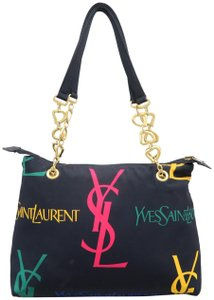 Saint Laurent Multicolor Nylon Reversible Tote in BLACK