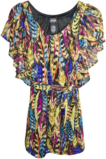 Item - Purple Yellow and Blue D425-0177 Short Casual Maxi Dress Size 6 (S)