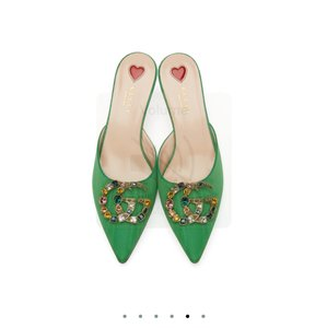 Gucci green, gold Mules