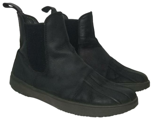 Item - Black Textile Leather Chelsae Ankle Rain Boots/Booties Size US 8 Regular (M, B)