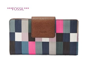 Fossil New Brand Wallet Multicolor/Brown Clutch
