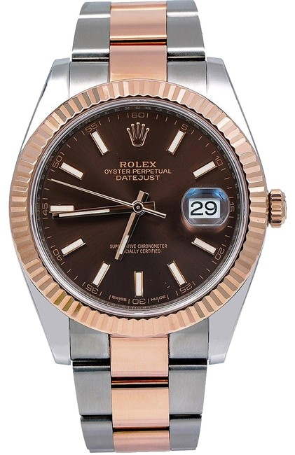 Item - Brown Datejust Ii 126331 41mm Dial with Two Tone Oyster Bracelet Watch