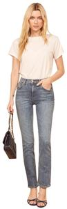 Reformation High Rise Dark Wash Straight Leg Jeans-Dark Rinse