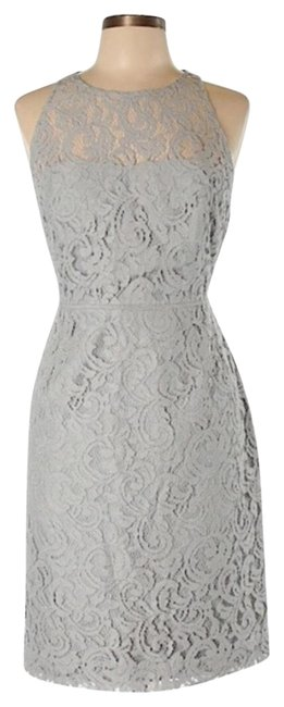 Item - Grey Nwt. In Leavers Lace Mid-length Night Out Dress Size 12 (L)