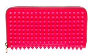 Christian Louboutin Christian Louboutin Hot Pink Patent Leather Spiked Wallet