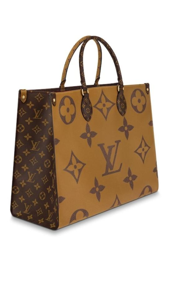 748ba86af3 Louis Vuitton Onthego Giant Summer Limited Edition Havana Brown Monogram  Canvas and Monogram Reverse Canvas Tote
