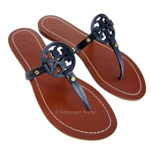 Tory Burch Leather Miller Flat Thong Bright Navy Sandals