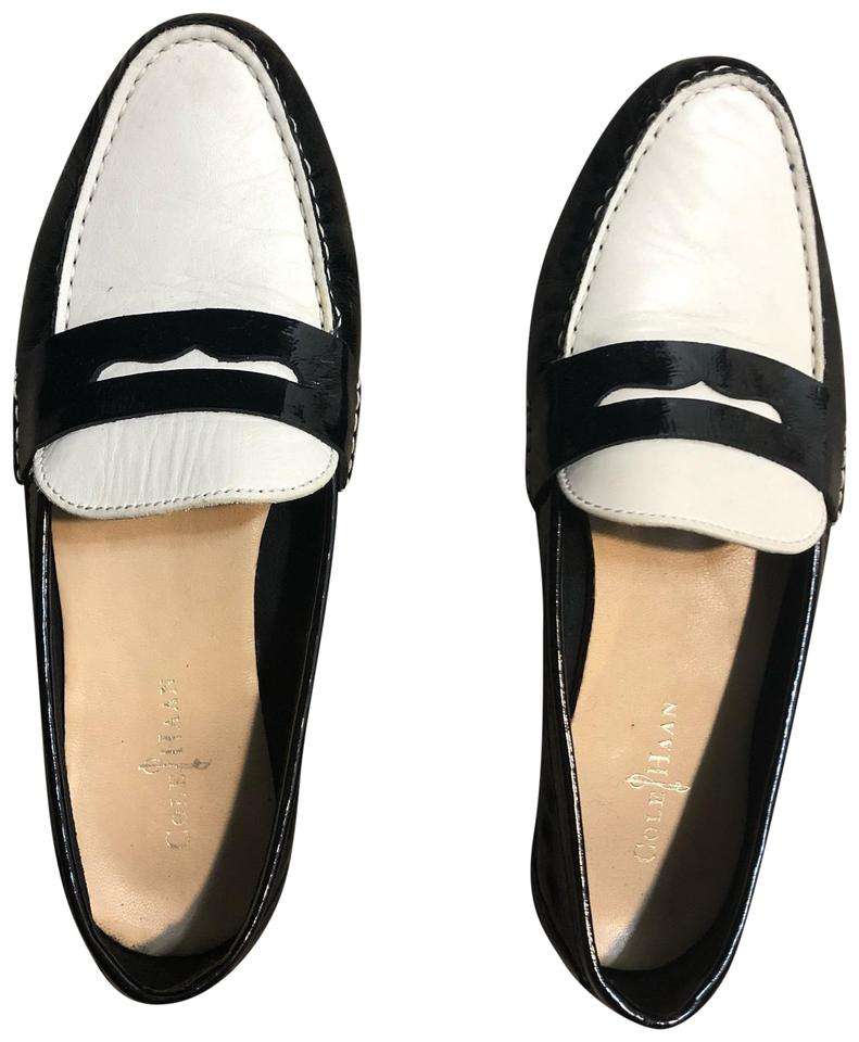 17bfcf242b389 Cole Haan Black & White Patent Leather Tuxedo Loafers Flats Size US 7.5  Regular (M, B)
