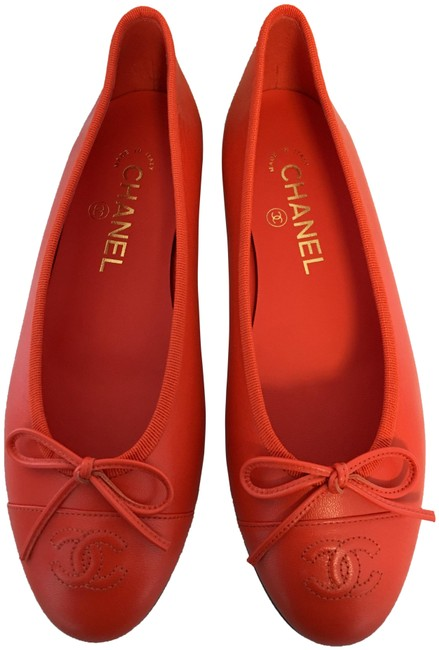 Item - Orange Classic Leather Ballet Cc Captoe Logo Bow Slip-on Ballerina Flats Size EU 37 (Approx. US 7) Regular (M, B)