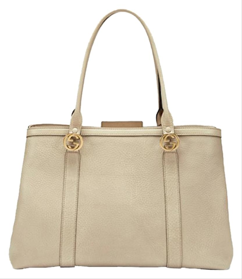 faa9d830 Gucci Top Handle Miss Gg Double Beige Leather Tote 53% off retail