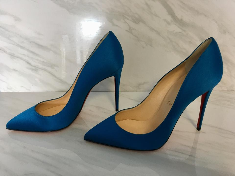 new product 95965 b07d4 Christian Louboutin Blue Classic Pigalle Follies 100mm Positano Satin  Leather Point-toe Heels Pumps Size EU 39 (Approx. US 9) Regular (M, B)