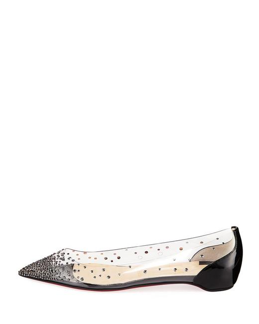 Item - Black Classic Degrastrass Point-toe Pvc Leather Crystal Embellished Flats Size EU 42 (Approx. US 12) Regular (M, B)
