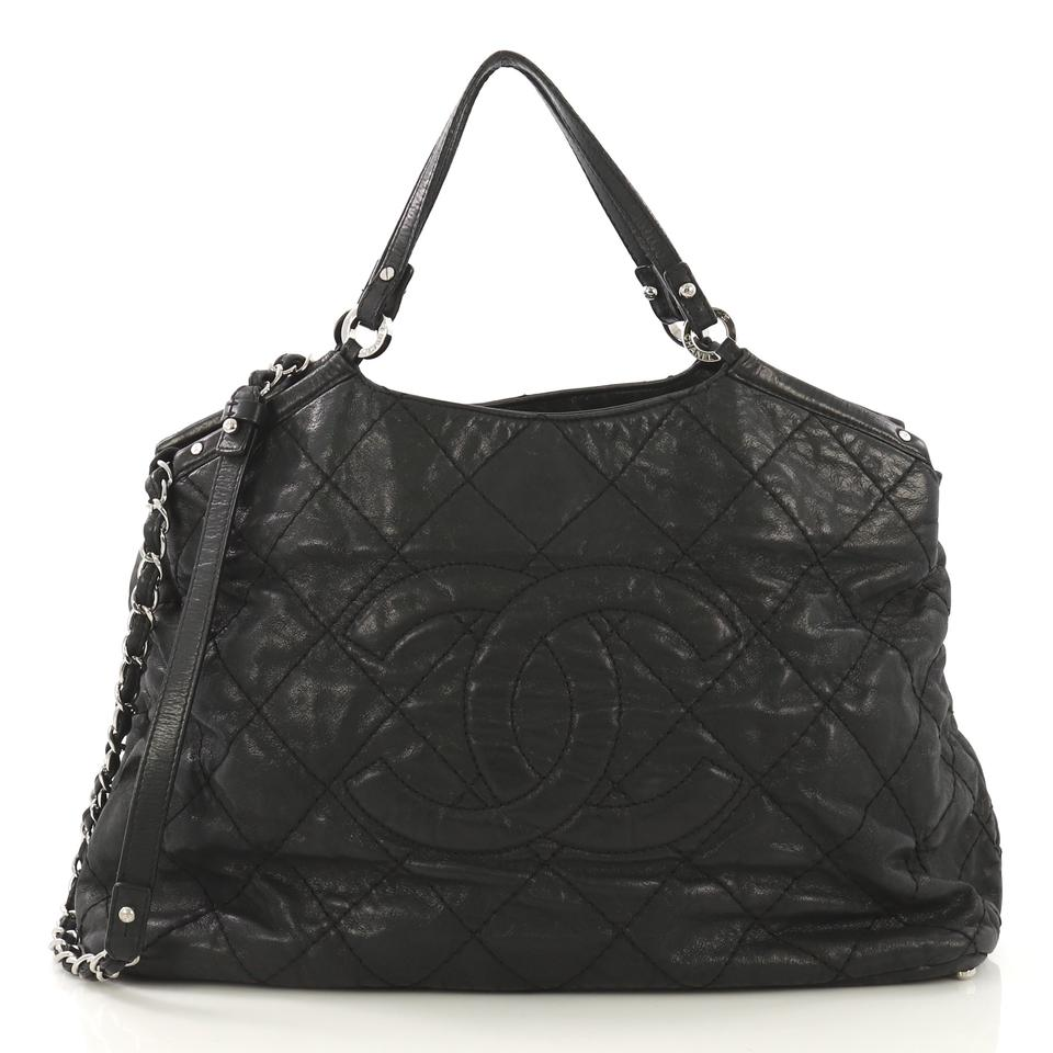 b5b375638a17 Chanel Cc Sea Hit Quilted Iridescent Large Black Calfskin Leather Tote