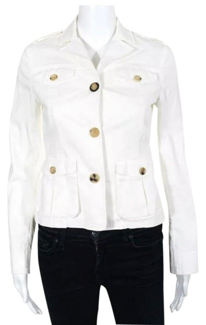 Item - White Stretch Fit Jean Jacket/ Button-down Top Size Petite 2 (XS)