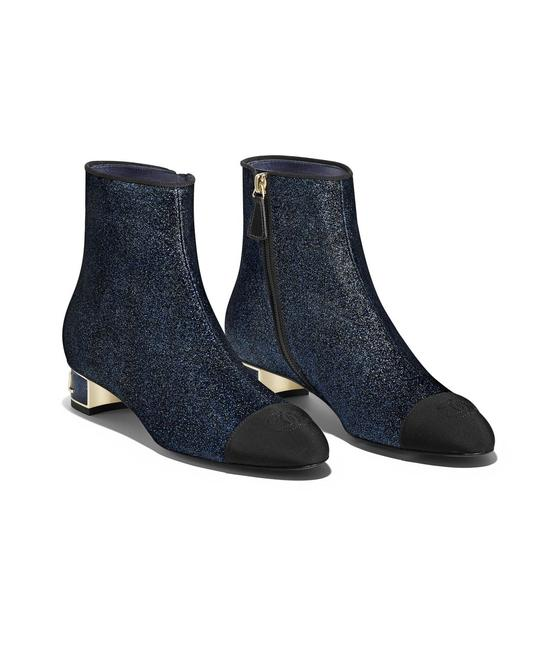 Item - Multicolor Glitter Leather Ankle Zip-up 35mm Heels Navy Cc Logo Cap-toe Boots/Booties Size EU 40.5 (Approx. US 10.5) Regular (M, B)