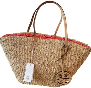 Tory Burch Leather Tote in Straw