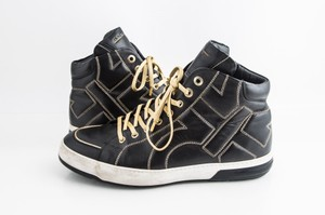 Salvatore Ferragamo Black Leather Gancini Nicky High Top Sneakers Shoes