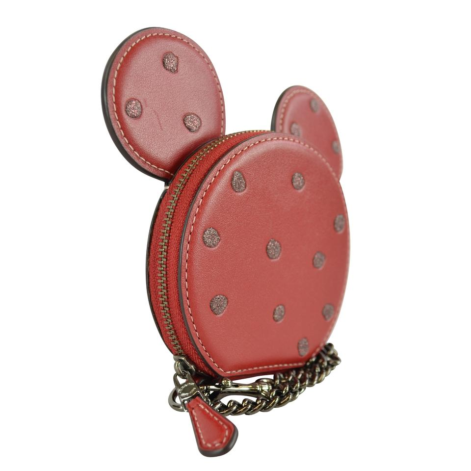 buy popular 05636 d9582 Coach Disney Minnie Mouse Dot Ears Coin Purse Wallet Red Leather Wristlet