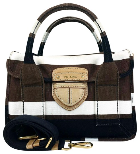 Prada Striped Canvas Canapa Satchel in Brown Image 0