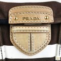 Prada Striped Canvas Canapa Satchel in Brown Image 10