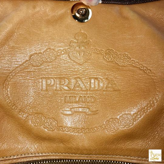 Prada Striped Canvas Canapa Satchel in Brown Image 11
