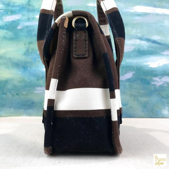 Prada Striped Canvas Canapa Satchel in Brown Image 7